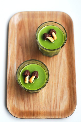 Matcha Green Tea pudding with choco-shrooms!
