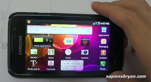 Samsung Galaxy S : Homescreen & Applications Page In Landscape Mode