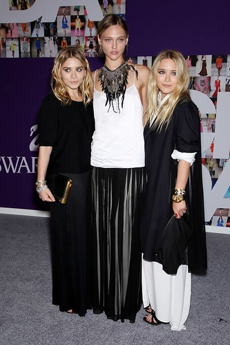 Ashley Olsen, Sasha Pivovarova and Mary-Kate Olsen