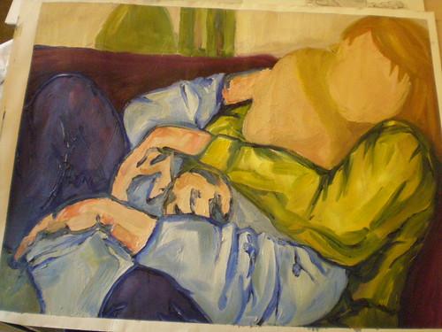 Oil double portrait unfinished