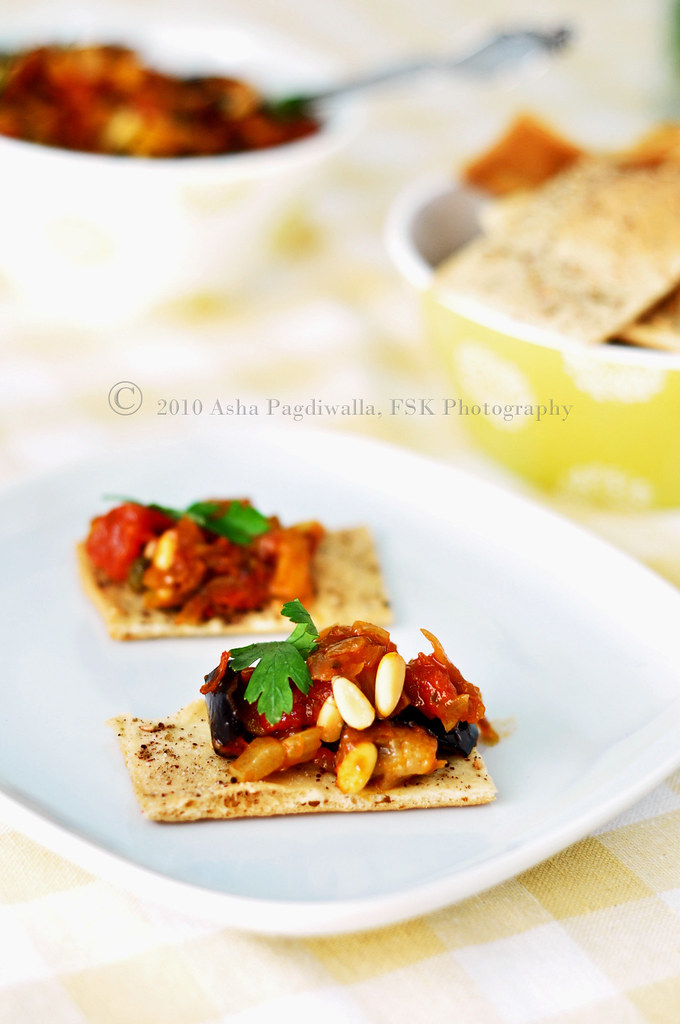 Caponata served on cracker