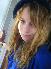 happy morning blues (skintone) Tags: morning blue light kitchen beautiful beauty smile face oneaday hat hair eyes dress natural availablelight daughter teen rosalie skintone 2010yip