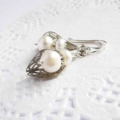 freshwater pearl earrings with filigree leaf