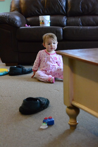 Ella sitting by the couch - Nikon D3100 @ ISO 6400