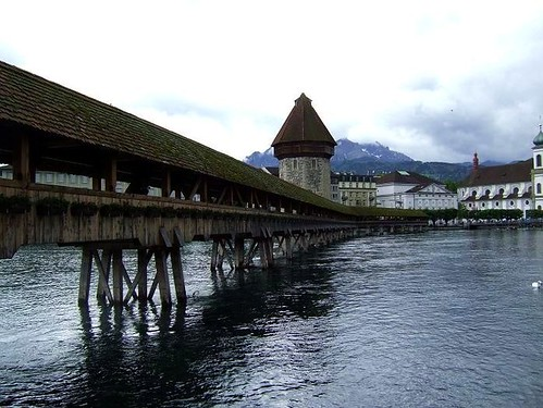 view of Kapellbrucke in Lucerne