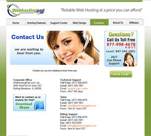 WebHostingPad Contact Information