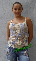 Denim_top (antonina.kuznetsova) Tags: flower motif top crochet ukraine clothes cotton denim freeform irishcrochet kherson crochetlace lacefreeform antoninakuznetsova