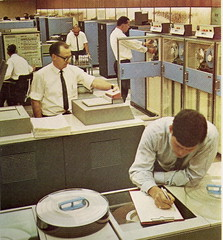 Qantas Computer Room, Mid 1960s (glen.h) Tags: men vintage 60s computers ibm 1960s qantas sixties system360