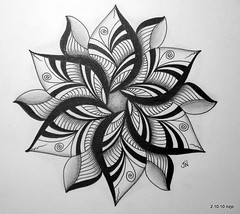 Lotus (Jo in NZ) Tags: pen ink drawing line zentangle nzjo