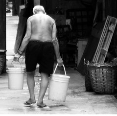 Calvin Klein (ROSS HONG KONG) Tags: bw white man black water hongkong alley underwear sony oldman elderly buckets alpha laborer calvinklein wanchai a900