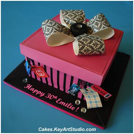 gift box cake designs. Pink Gift Box Cake