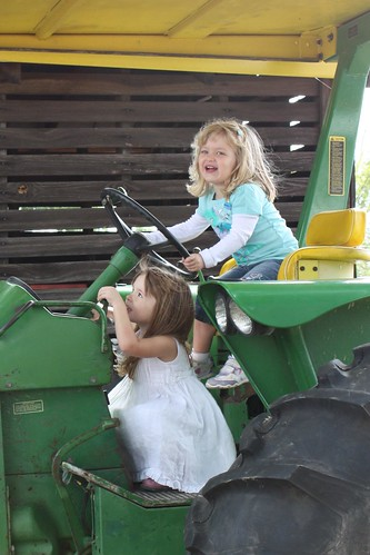 Elizabeth and Catie on the tractor