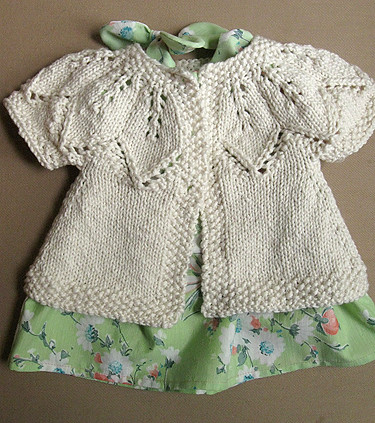 Autumn Leaves baby cardi with vintage sheet dress FO