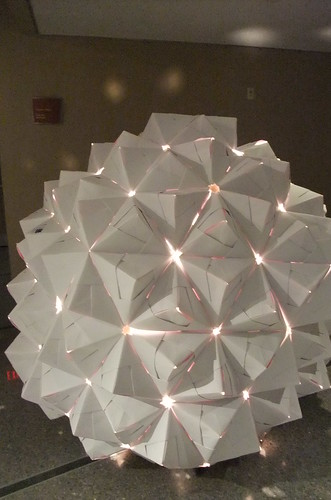 glowing origami sphere