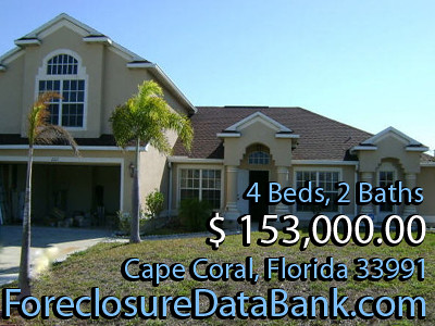 Cape Coral Foreclosures Florida 4 Bd 2 Ba  15300000  ForeclosureDataBankcom by ForeclosureDataBank