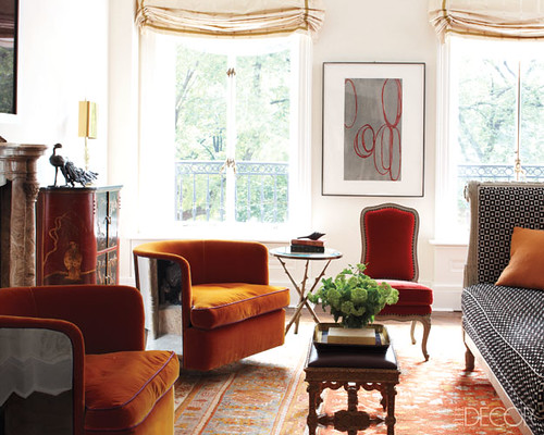 Orange interior design from Greige via Elle Decor, interior design, home ideas, elle, decor, orange, living room,