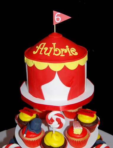 carnival tent topper cake for carnival themed cupcake tower