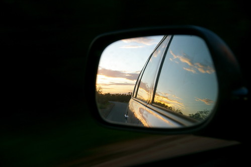 driving home through the sunset