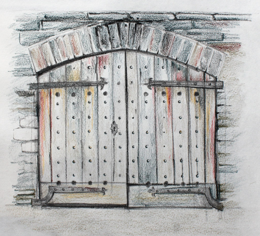 Door pencil drawing - Doors Of The Old Duchy Palace Lostwithiel Cornwall Circa 1300 Cecca W