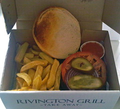 Takeaway Burger and Chips from Rivington Grill