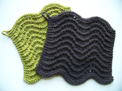 my feather & fan knit washcloths