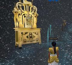 Meritaten examines King Tut's funerary objects in the Cosmic Gallery of virtual Amarna (Akhetaten) (mharrsch) Tags: lamp kingtut ancient egypt 18thdynasty nefertiti akhenaten tutankhamun alabaster virtualworld meritaten amarna virtualenvironment mharrsch akhetaten heritagekey