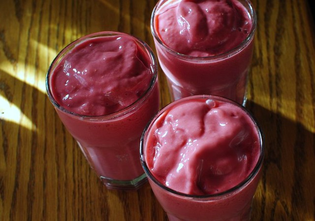 morning smoothies - raspberries, greek yogurt, orange juice, coconut milk, flax seed oil