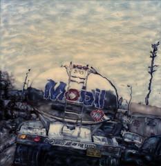 Mobil Gas Truck (tobysx70) Tags: california ca toby polaroid sx70 la los time angeles mobil manipulation gas chrome freeway oil petrol gasoline hancock 70 zero timezero sx offramp tobyhancock