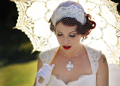 Shed a Tear (La Photographie Nashville) Tags: beautiful bride glamour veil tennessee happiness gloves parasol hollywood redlips tear weddingday rhinestones classy