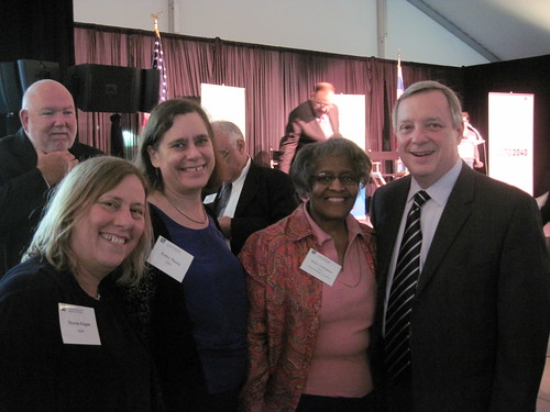 Senator Durbin with CNT staff at CMAP's Go To 2040 Launch