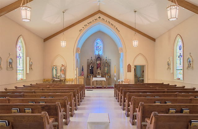 Saint Patrick Roman Catholic Church, in Grafton, Illinois, USA - nave