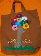sacola ecologica (Marina Fashion Flores) Tags: c feltro em flore sacola ecologica