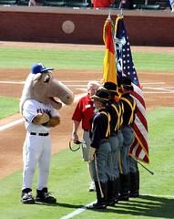 captain inspecting the cavalry (allikazoo) Tags: texasrangers newyorkyankees alcs