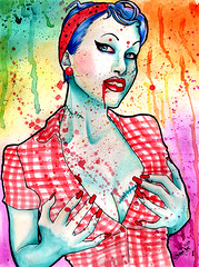 Zombie Doll (Caressa_sparkle) Tags: art girl up print rainbow colorful punk paint pin drawing zombie fineart horror splatter pinup
