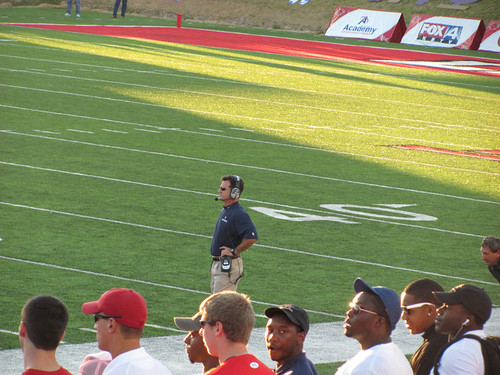 Coach Jones on the sideline against Lamar