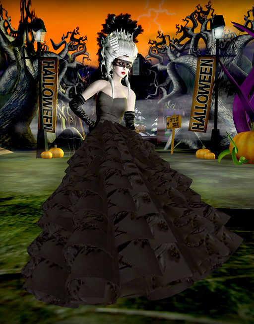 Halloween Gothic Black Wedding Dress