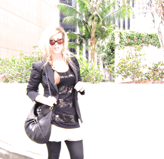 cat eye sunglasses+side braid+ferragamo bag