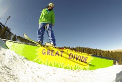 - Freeskier on rail at
