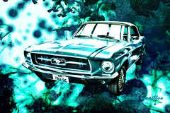 Ford Mustang V8 1967 cabriolet by Xavier Buaillon (xavier buaillon) Tags: old blue art ford car collage digital photoshop french photography us photo nikon artist photographer photographie image turquoise manipulation voiture collection montage historical mustang hdr luxe bleue cabriolet artiste photographe retouche amricaine cs5 d5000 buaillon xavierbuaillon imagemaniulation