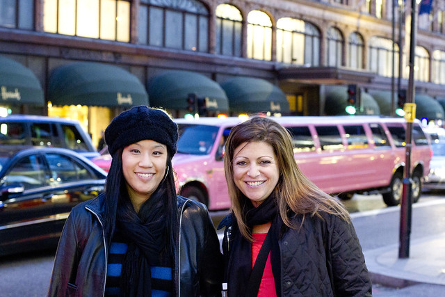 Angie and Tracie at Harrod's - pink limo