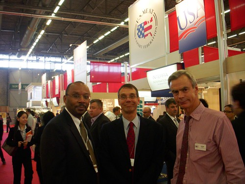 FAS Administrator John Brewer and Agricultural Counselor Brehm (FAS Paris) visit with exhibitors in the USA Meat & Poultry Pavilion during SIAL Paris.