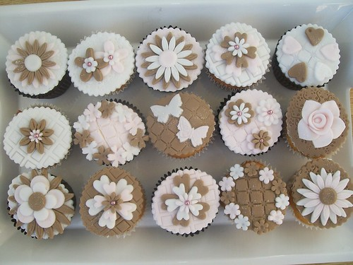 brown pink and white flower cupcakes.cakeebakey