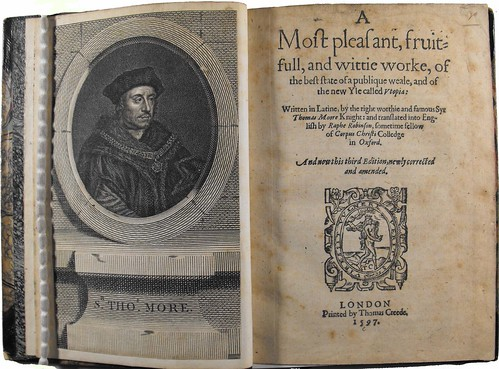 Title page from third, 1597, edition of Sir Thomas More's 'Utopia' held by University of Glasgow Library Special Collections.