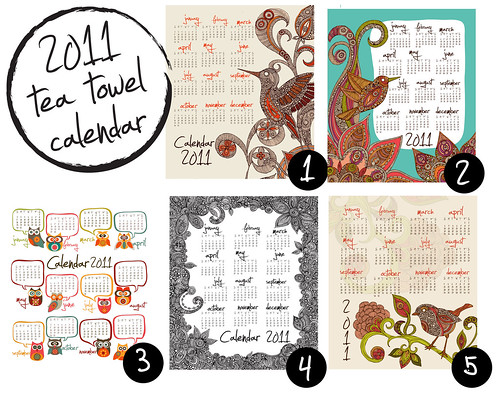 2011 tea towel calendars