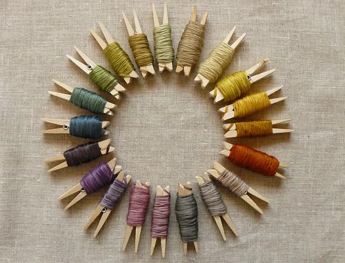 naturally dyed silk yarns rainbow