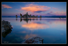 Castles in the Air (jeandayphotography.com) Tags: ca clouds colors desert easternsierranevada jday jeanday lake leevining mhw monolake mountainhighworkshops mountains reflections rocks sunset tufa water october 2010