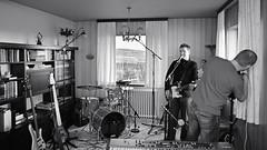 Menn Ársins reaharsing and recording demos (Siggidóri) Tags: diy bass gear books bookshelf mesaboogie amplifier speakers recording electricbass basses 4string 5string bassamp lakland fretlessbass zonsonus grayscalemonotonebwsepiasplittoning