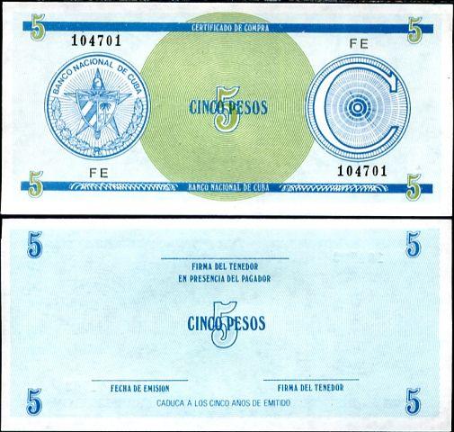 5 Pesos Cuba séria C 1. vydanie, P FX13