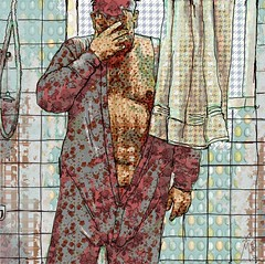 Bicky Burger (vinciane.c) Tags: male motif bathroom shower sketch pattern drawing fabric photomontage corelpainter