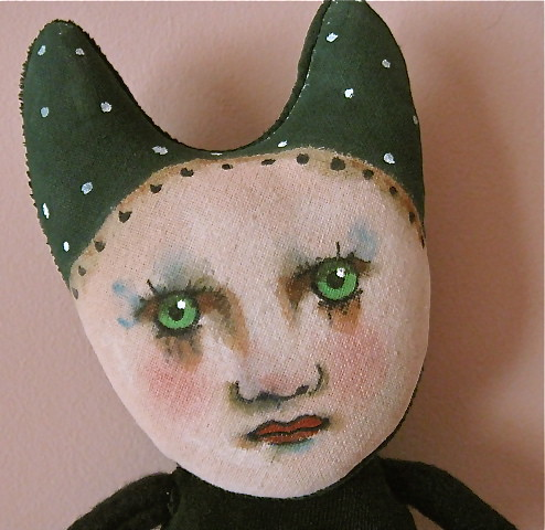 Velveteen Green cat girl art doll (Sandy Mastroni) Tags: handmade sewn ...
